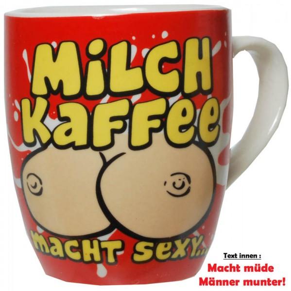 """Becher """"Milch-Kaffee"""" Porzellan mit Spruch"""