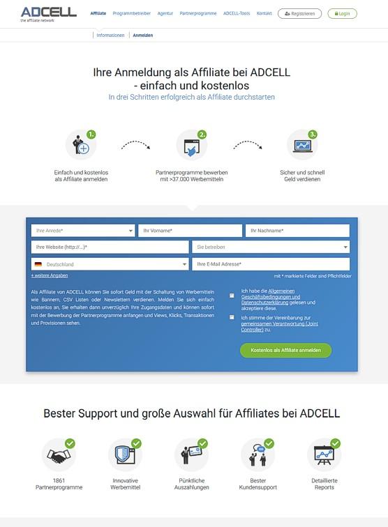Partnerprogramm Adcell - Jetzt anmelden