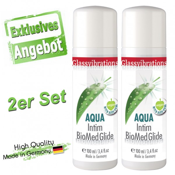 GLASSVIBRATIONS 2er Set AQUA INTIM BioMed Glide Vegan 100ml