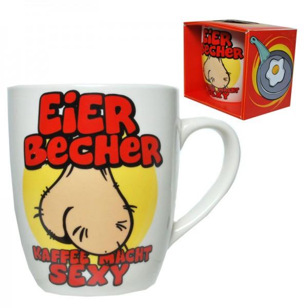 """Becher """"Eier-Becher"""" Porzellan mit Spruch"""